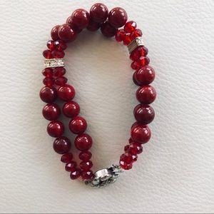 Jewelry - Deep Red beaded bracelet